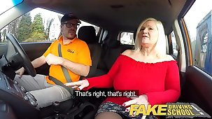Fake Driving Instructor Busty mature MILF sucks and fucks lucky instructor