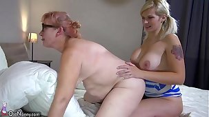 OldNanny Three horny lesbian non-specific is enjoying with strapon