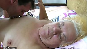 Granny coupled with sexy Nurse is enjoying hot threesome