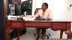 Office grannies Amanda and Penny strip off and operation