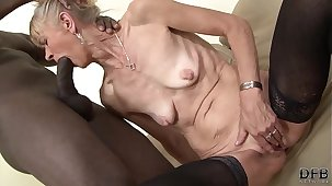 Granny fucked hard in her ass by black alms-man she gets creampied