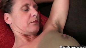 Granny Inge gets fingered up will not hear of full bushed pussy