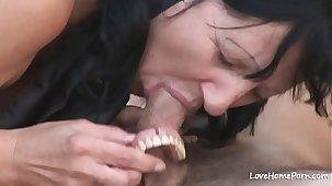 Granny is enjoying passionate fucking while outdoors