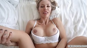 Hot Smoking mom takes her stepson into her bedroom and lets hims slam her milf sex-mad pussy!
