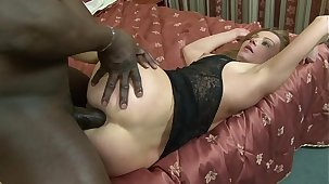 MILF Chiefly Suzy sucks sinister bushwa to the fore getting anal and pussy rammed