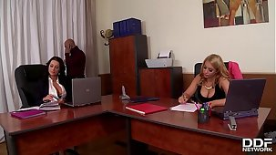 Celebration at date makes boss bang busty babes Patty Michova & Kyra Hot