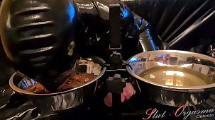 Slave Slut-Orgasma Celeste eating dog food and drinking piss