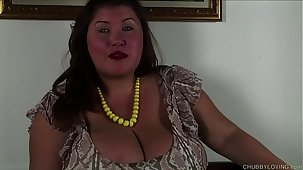 Super cute chubby honey talks exploitatory and fucks her succulent pussy
