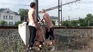 Cum exceeding a MILF face in Unseat street triad sex wits a train station