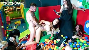 FORBONDAGE - Muscle Timber Fucks In Group BDSM A Sexy Busty Romanian MILF Amina Danger