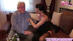 German milf respecting big tits fucks grandpa at chaperon date