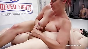 Bella Rossi mixed sex wrestling gives a handjob throe Strapon Fucks the loser