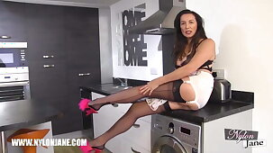 Lord it over Milf with long fingertips wrapped in fully fashioned nylons