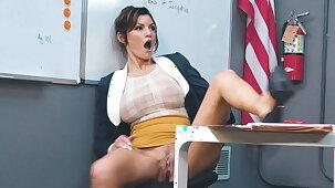 Busty teacher rubbing her pussy presently college girl walks in!