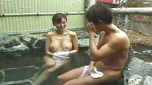 Uncensored busty Japanese milf – outdoor penis washing